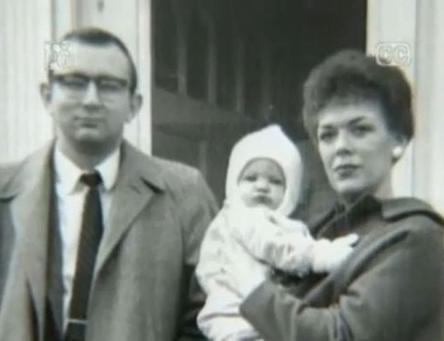 Jeffrey Dahmer as a baby with his parents